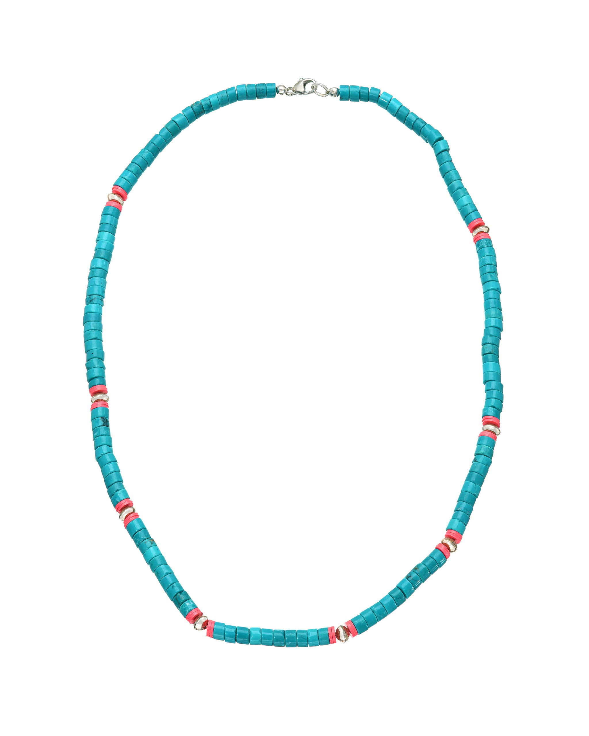 San Miguel Necklace, Turquoise, Hot Pink and Sterling Silver  Beaded necklace, handmade by Turquoise and Tobacco in Los Angeles California