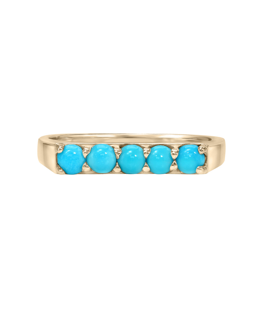 River Ring, 14k Yellow Gold Bar Signet Ring with five Sleeping Beauty Turquoise Stones, Turquoise + Tobacco