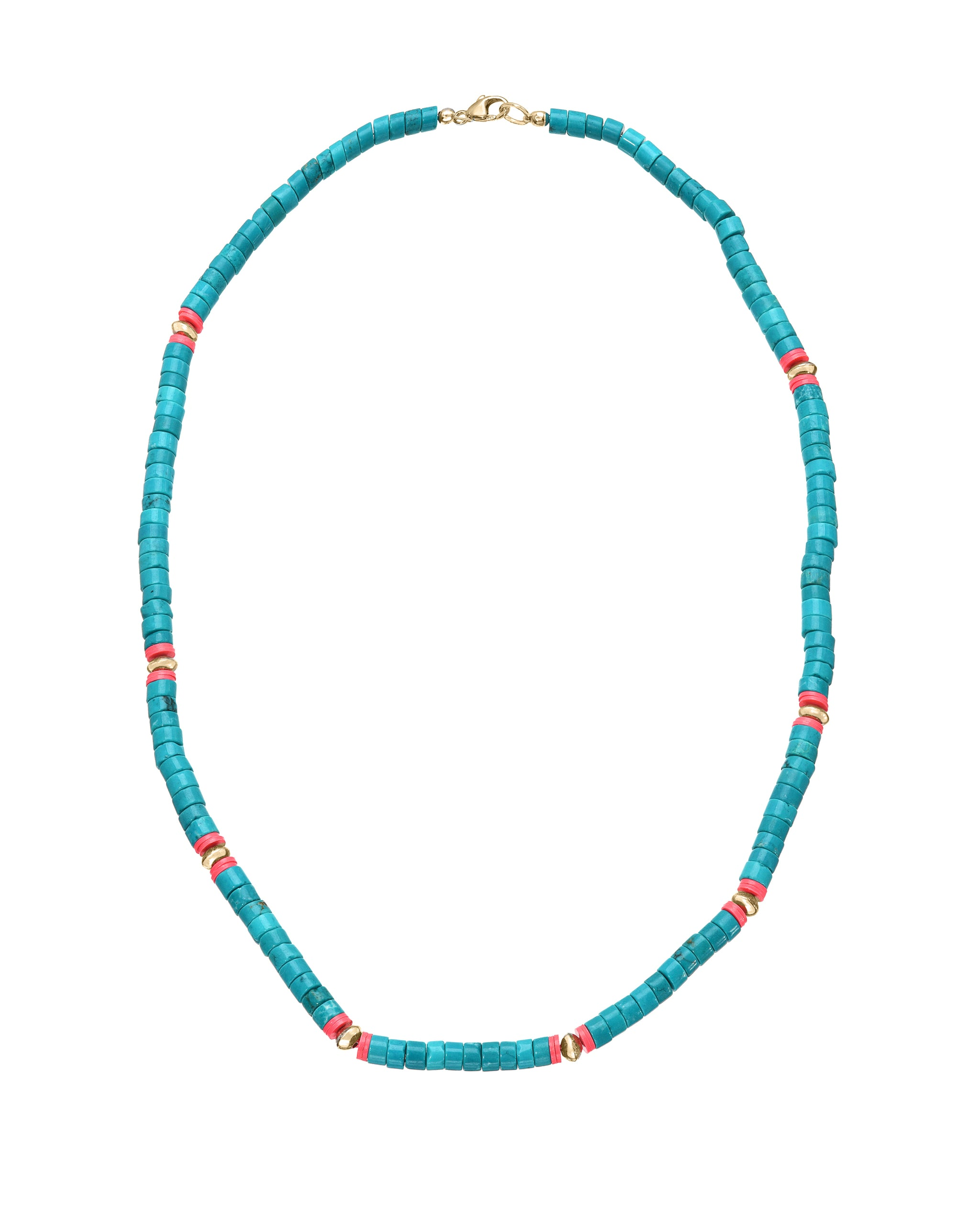San Miguel Necklace, Turquoise, Hot Pink and Gold Filled Beaded necklace, handmade by Turquoise and Tobacco in Los Angeles California