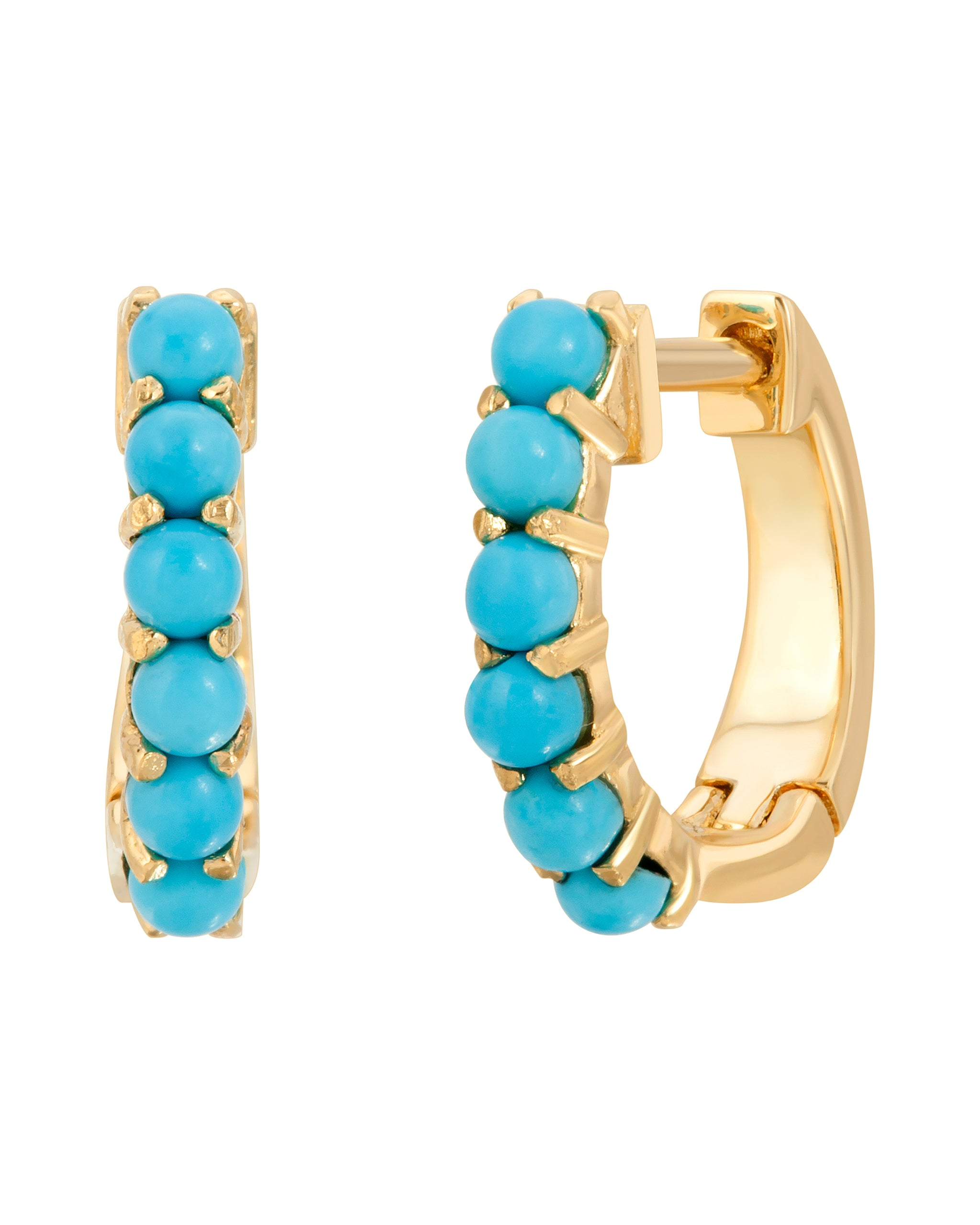 Turquoise and Tobacco 14k Gold Turquoise Huggies