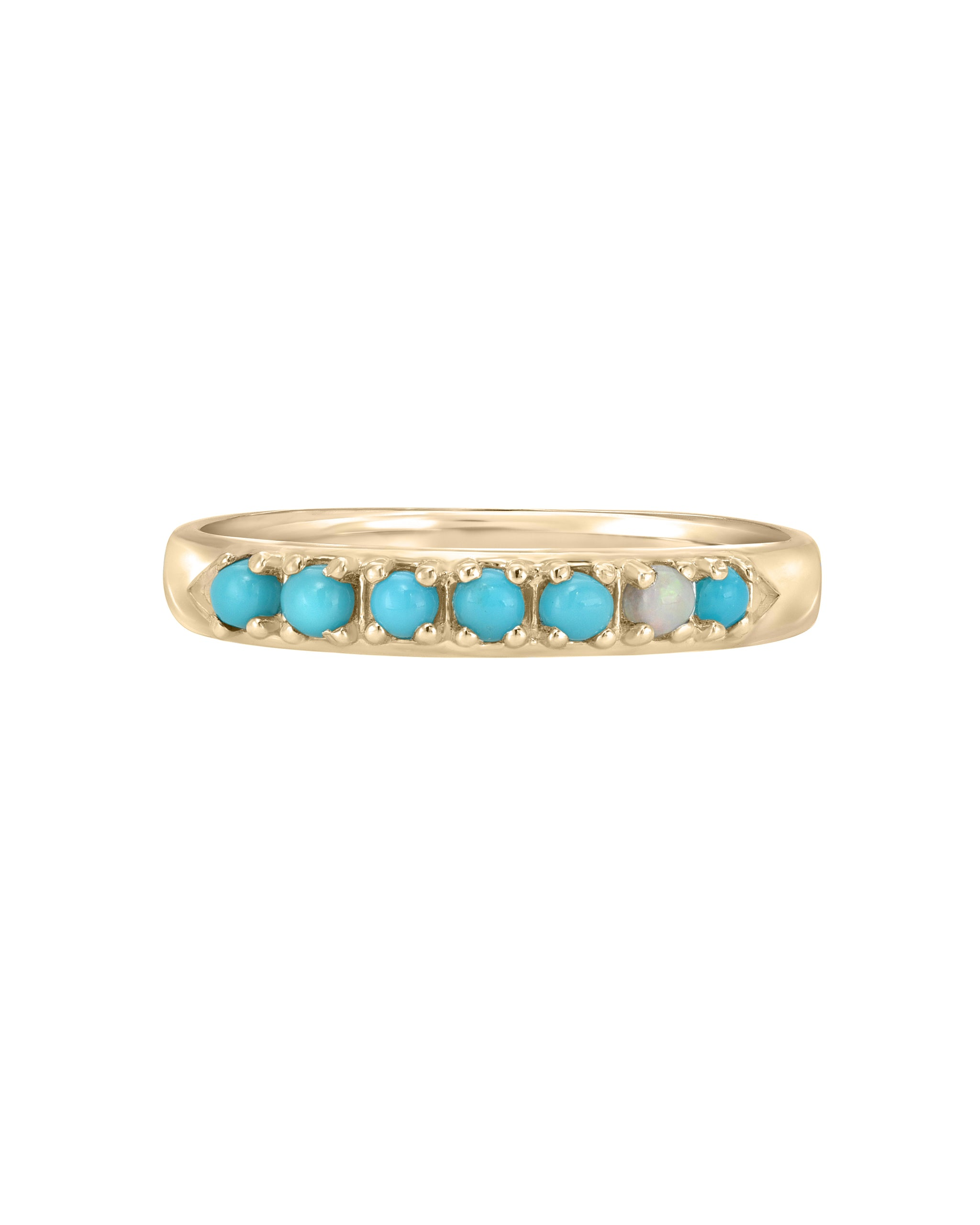 Wylde Ring, Turquoise and Opal 14k yellow gold chevron ring, handmade by Turquoise + Tobacco in Los Angeles, California