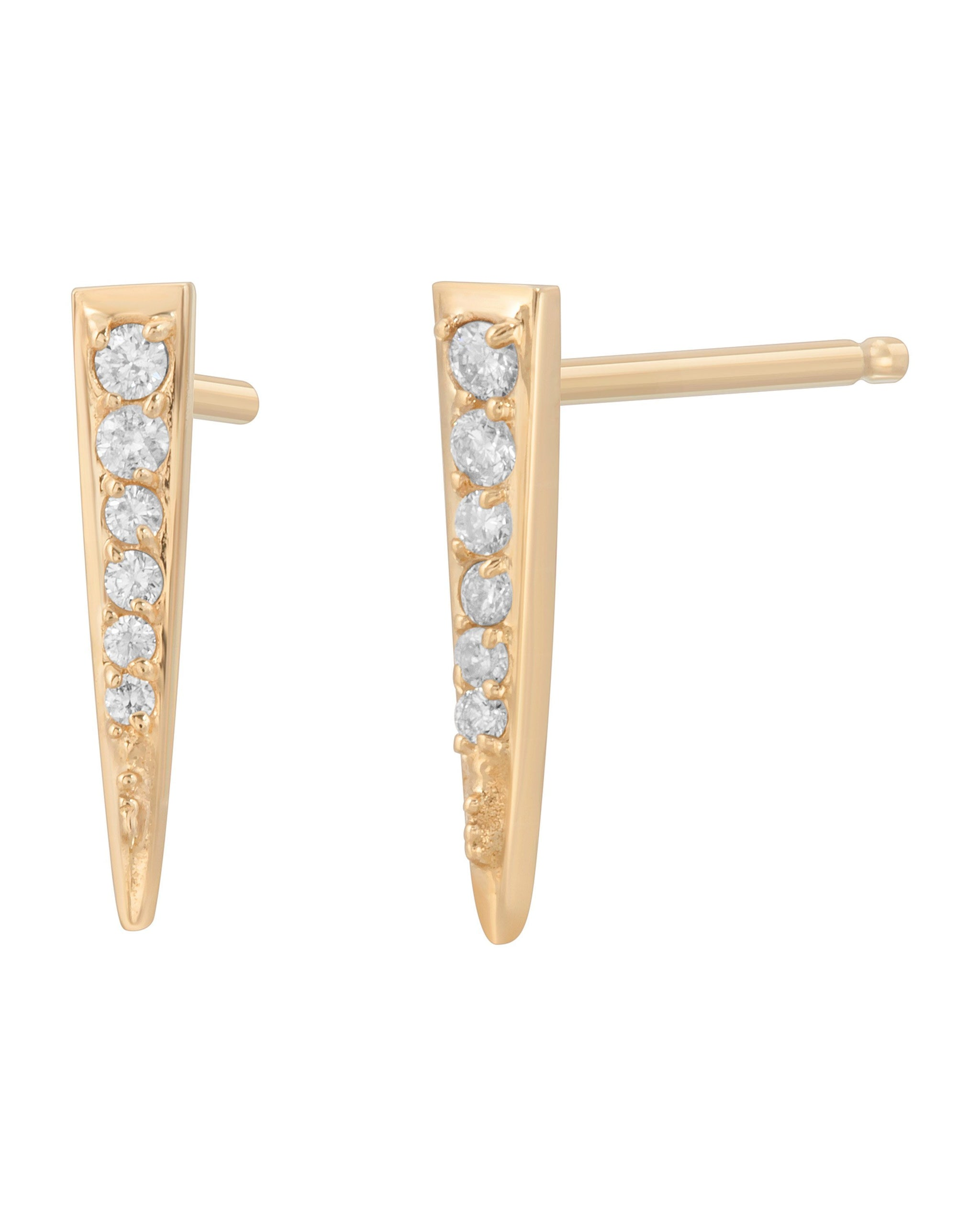 Astra Studs, 14k Yellow Gold & Diamond Spike Stud Earrings, Handmade by Turquoise + Tobacco