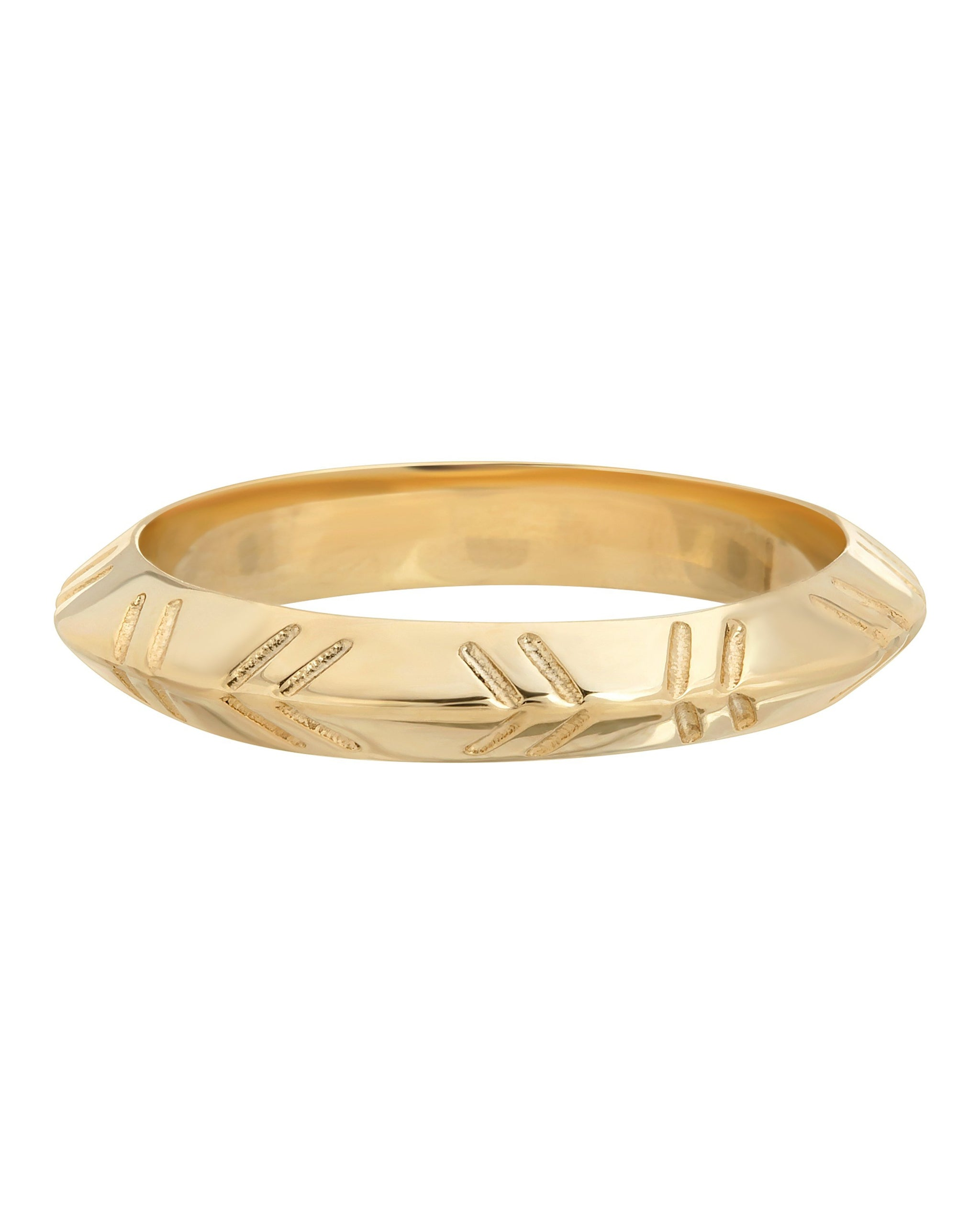 Chevron Knife Edge Ring, 14k Gold Vermeil, handmade by Turquoise + Tobacco in Los Angeles, California