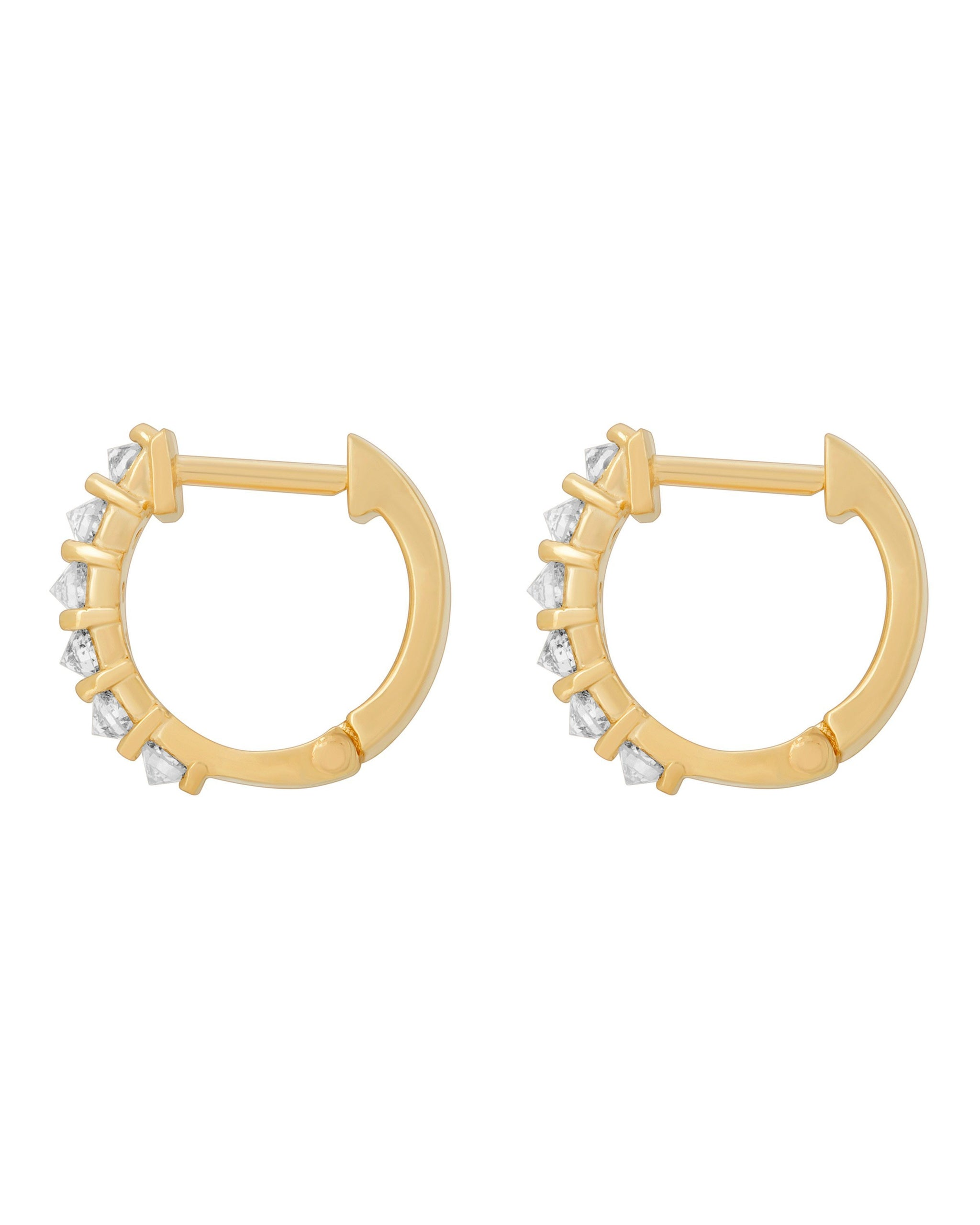 Eclipse Huggies, 14k Yellow Gold 11mm Huggie Hoops with Six White Diamonds per earring, Handmade by Turquoise + Tobacco