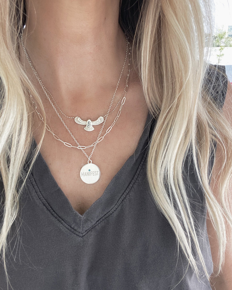 "Sterling Silver Fleetwood Necklace, Eagle Pendant on a 16""-18"" Sterling Silver Chain, Handmade by Turquoise + Tobacco Jewelry"