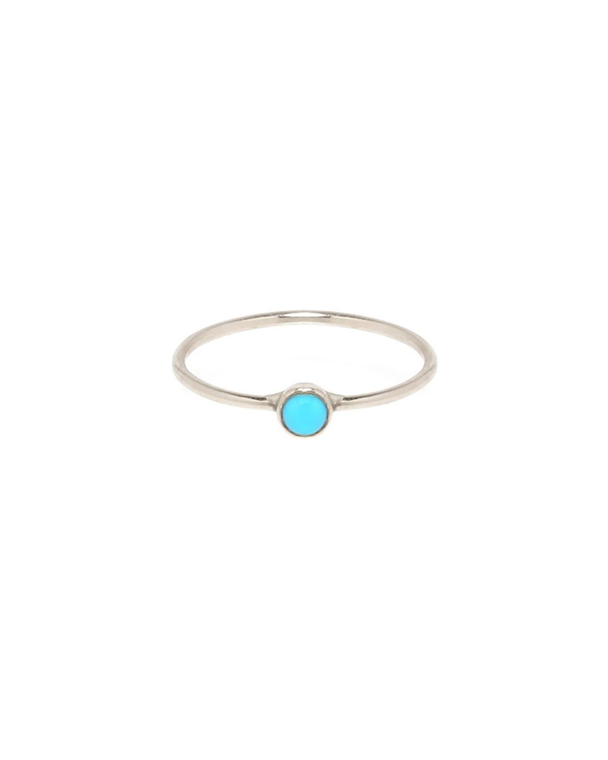 LUNA RING - Sterling Silver and Turquoise Round Bezel Single Stone stack ring