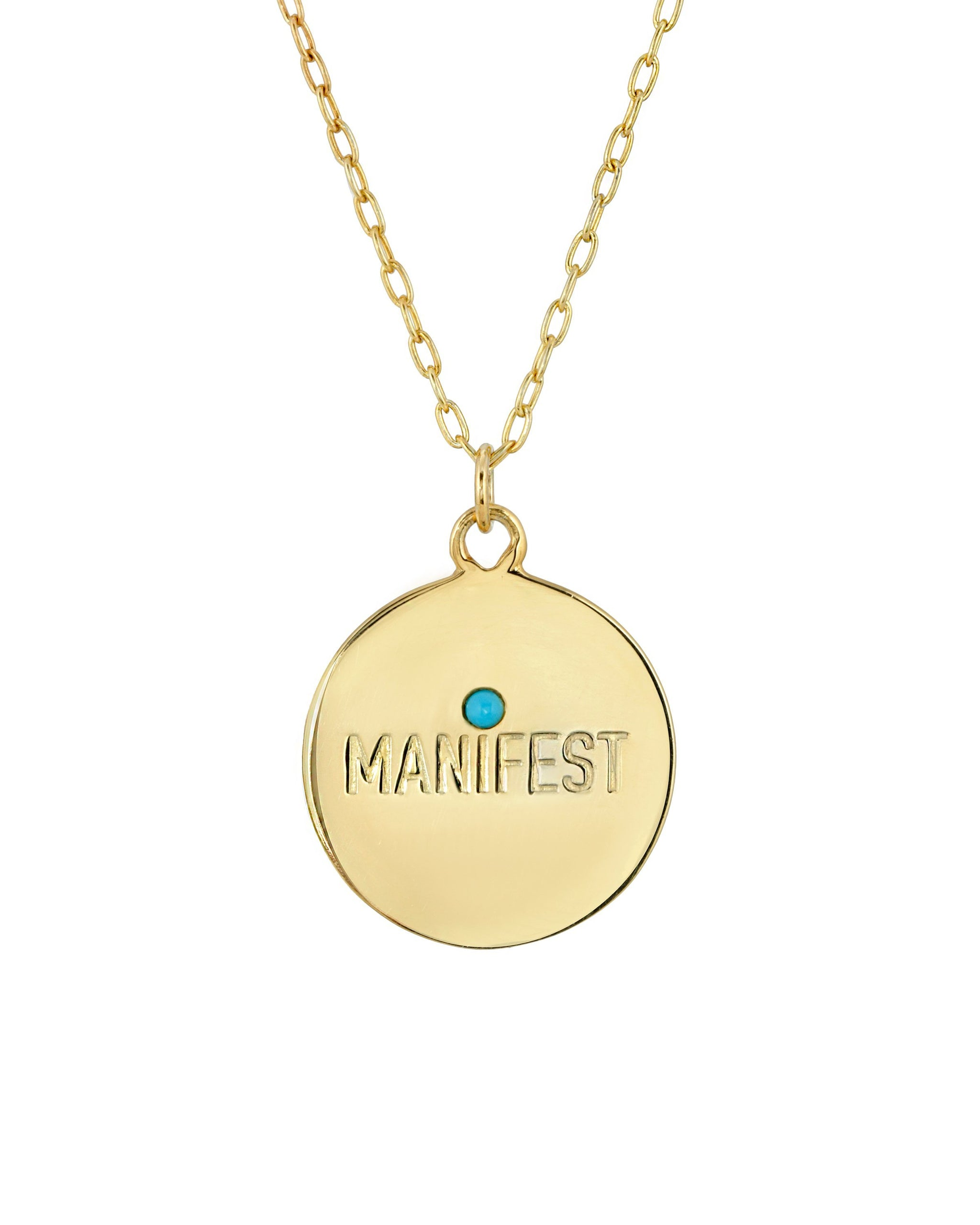 Manifest Necklace, Gold Vermeil Round Medallion with Manifest engraved and a 2mm semi precious stone. Handmade by Turquoise + Tobacco in Los Angeles, California