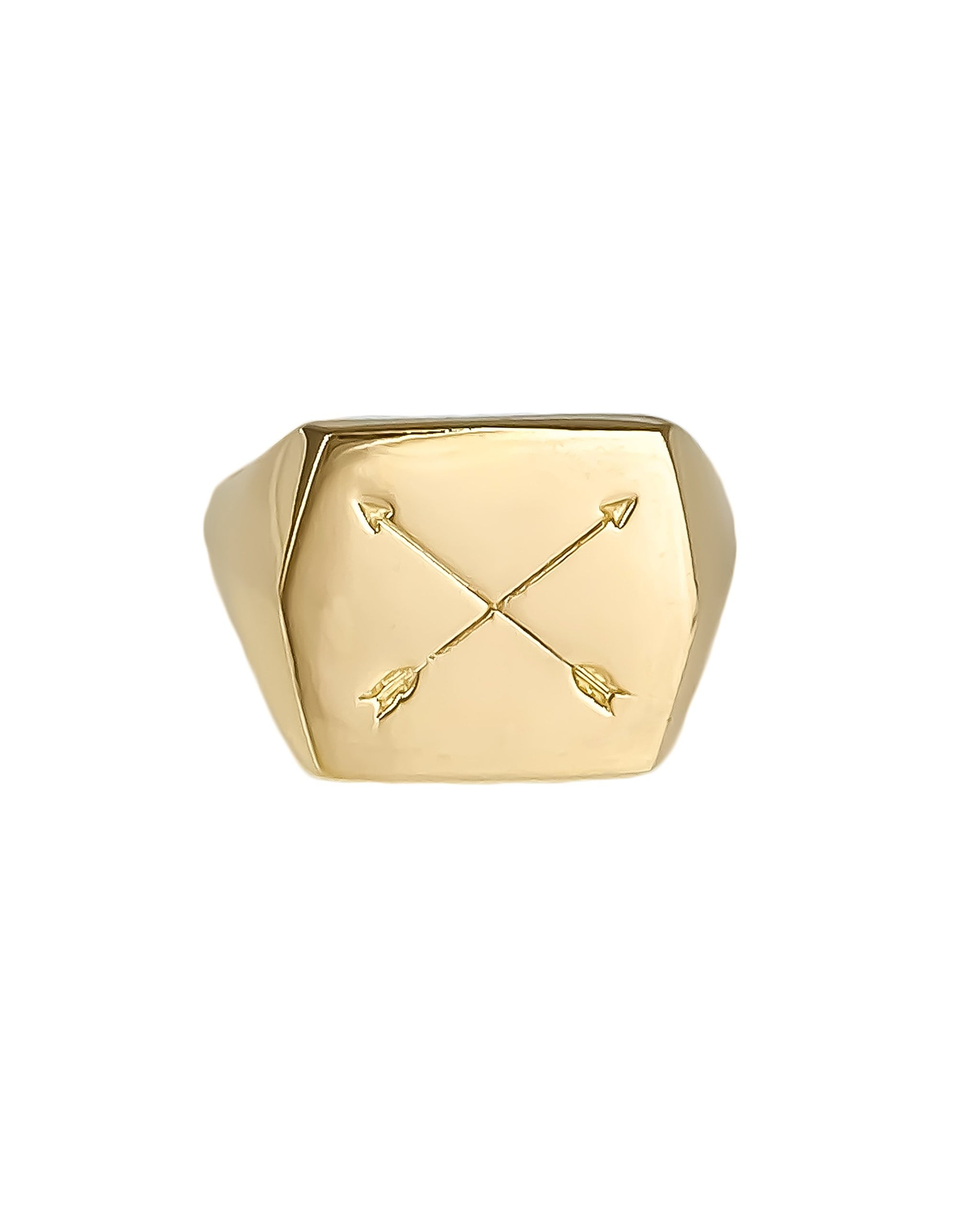 Nomad Ring, 14k Yellow Gold Squared Signet Ring with Crossed arrows, handmade by Turquoise + Tobacco