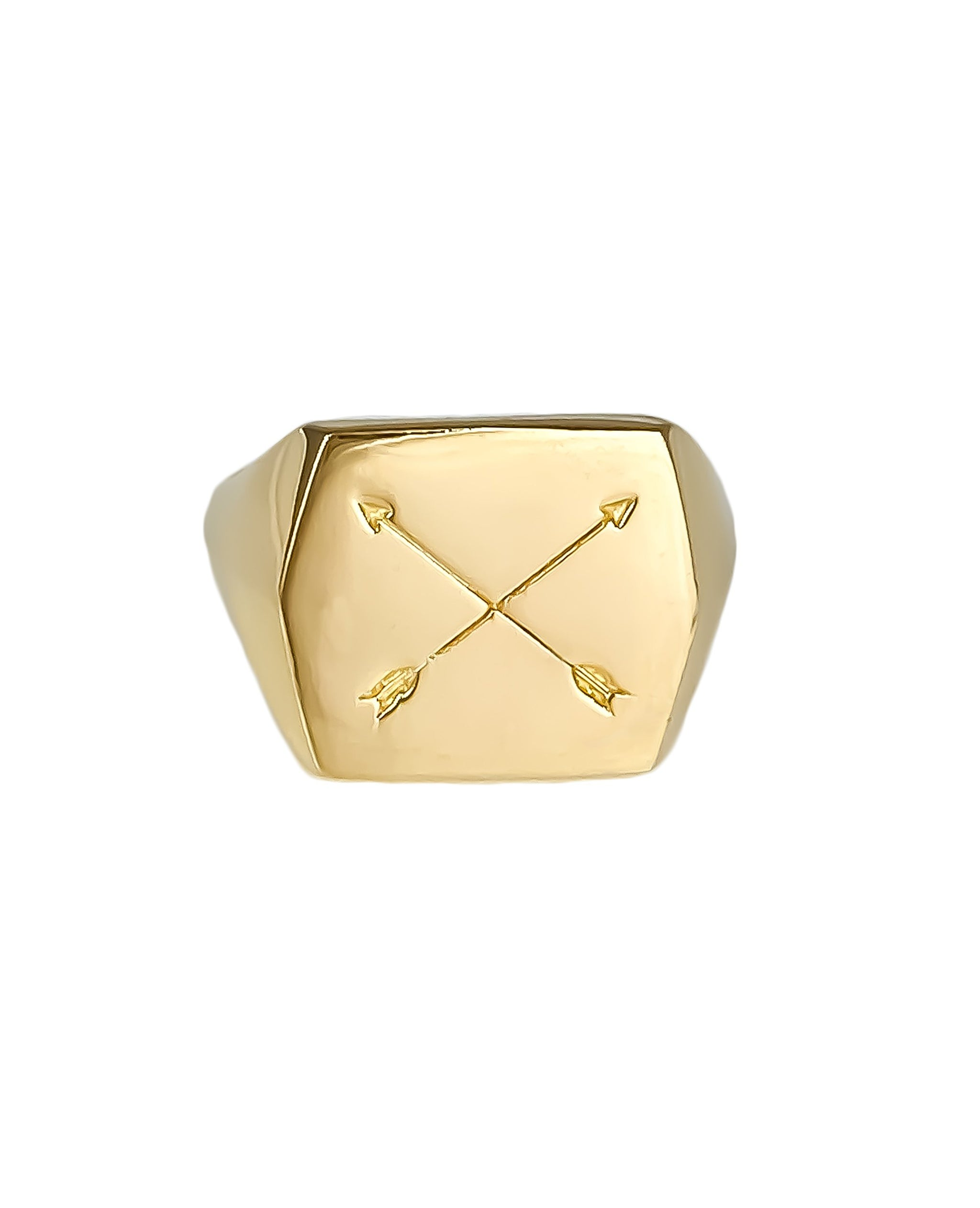 Nomad Ring, 14k Gold Vermeil Squared signet Ring with crossed arrows,