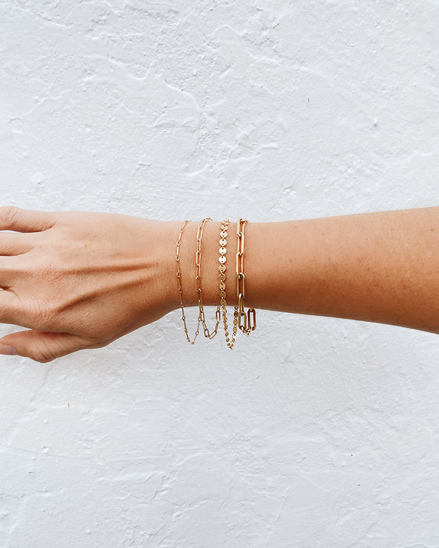 14k Gold Filled Paperclip Bracelet, Handmade by Turquoise and Tobacco in Los Angeles, California USA