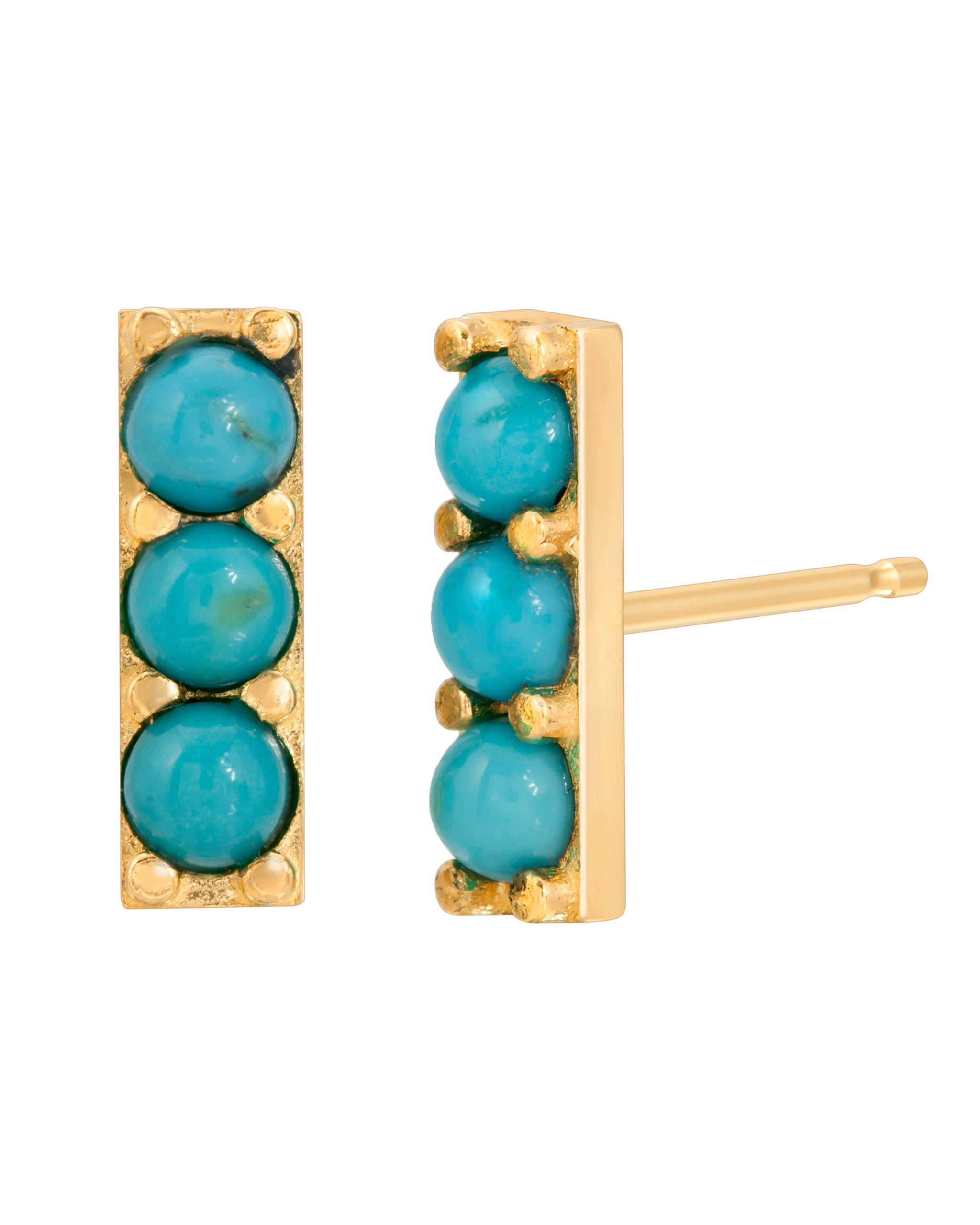 River Stud Earring, 14k Yellow Gold with 3 Sleeping Beauty Turquoise Stones, Handmade by Turquoise + Tobacco