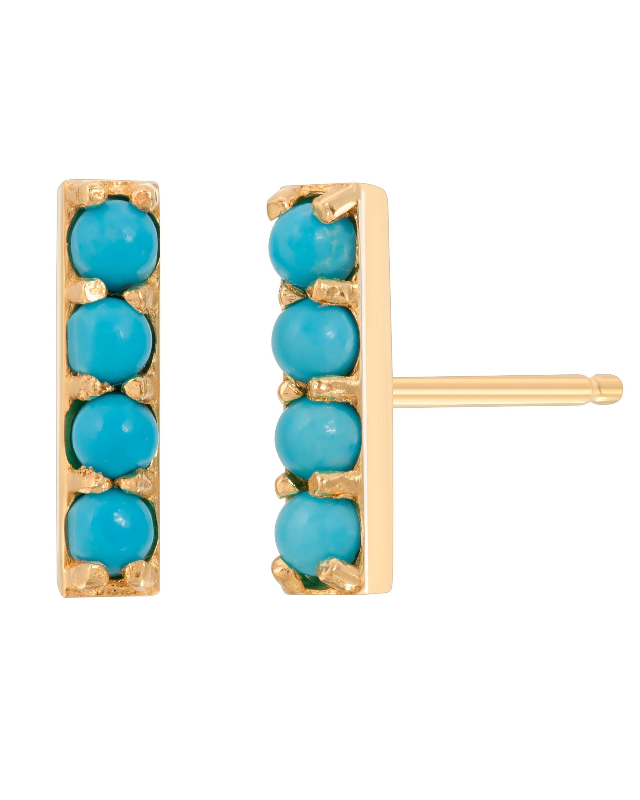 RIVER STUDS 10MM - TURQUOISE + TOBACCO