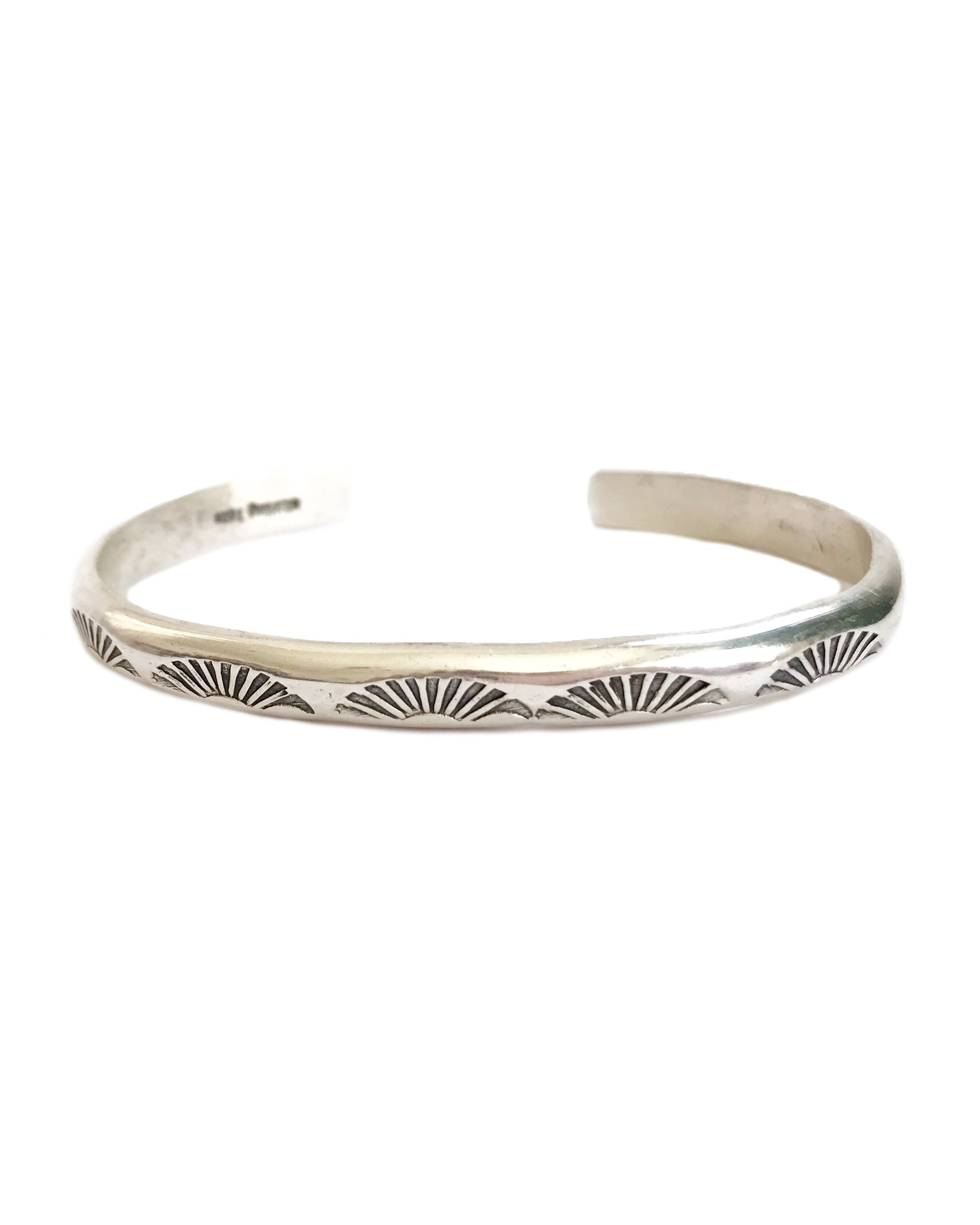 Sunrise Cuff, Sterling Silver Sunrise Stamped Half round cuff, handmade by Navajo artists