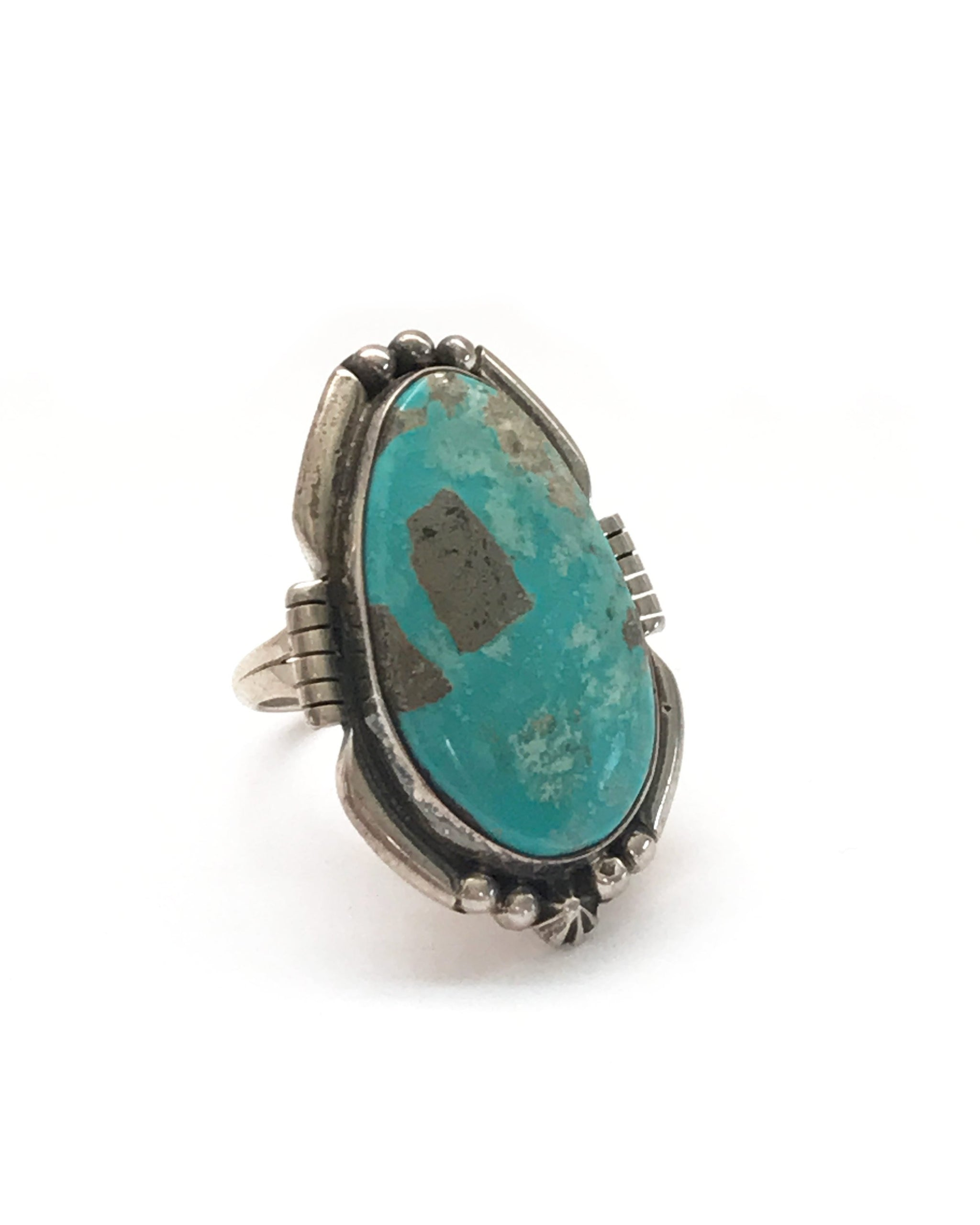 VINTAGE CARICO LAKE TURQUOISE RING - TURQUOISE + TOBACCO