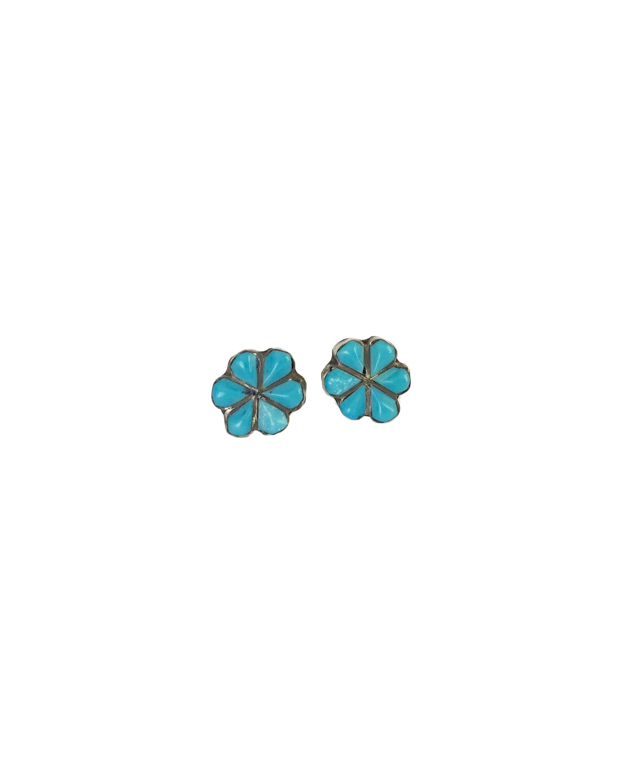 VINTAGE FLORA STUDS - TURQUOISE + TOBACCO