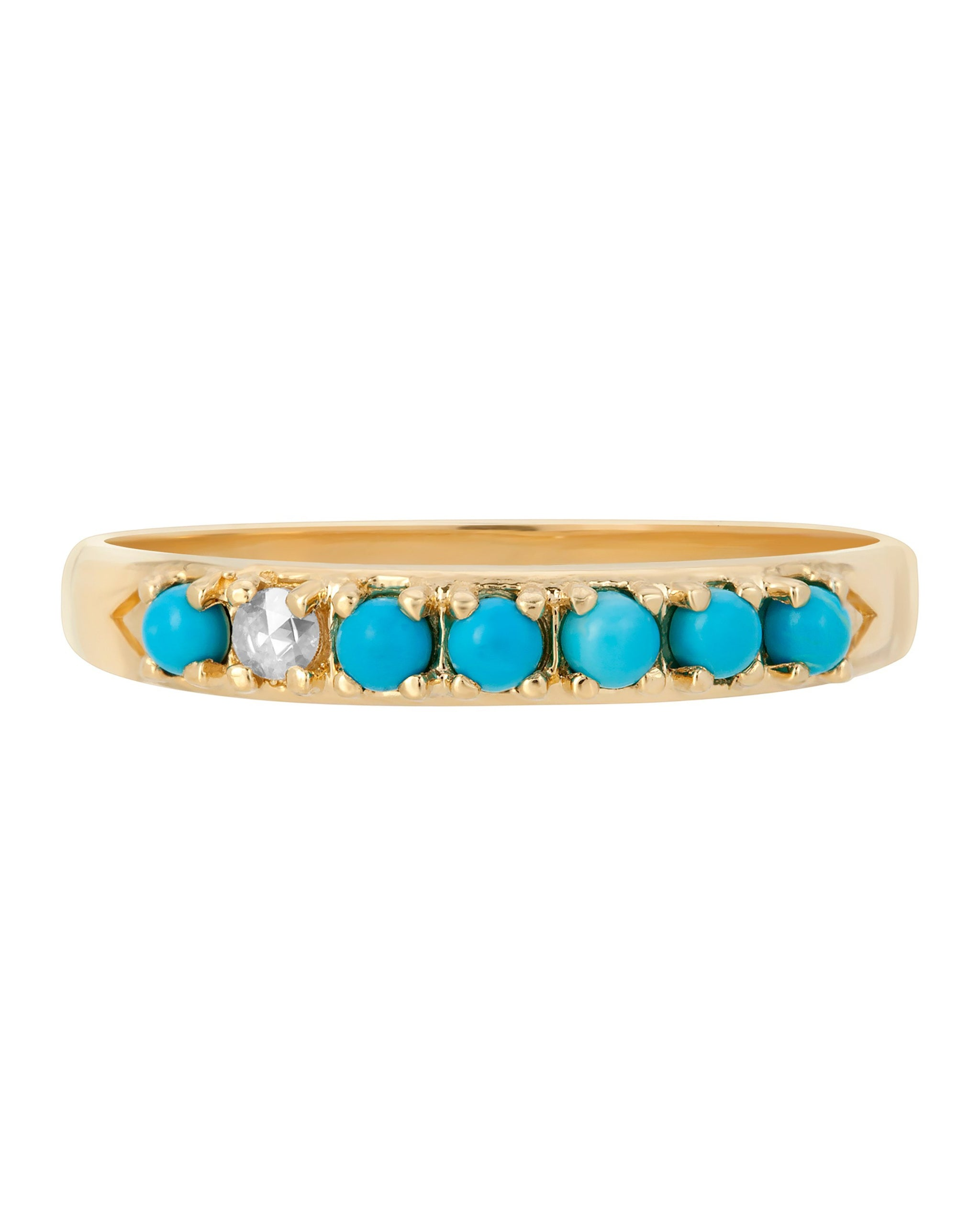 Wylde Ring, 14k yellow gold seven stone band with six sleeping beauty stones and one white diamond, handmade by Turquoise + Tobacco