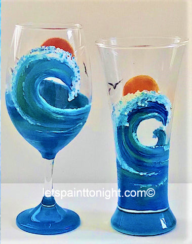 Painting glass... paint a pair of wine or beer glasses