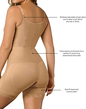 Leonisa Firm Compression Boyshort Body Shaper with Butt Lifter - Front Hook + Multi-Way Straps 018491, Best High waist Control Sexy Panties Undies Underwear Canada, BestShapewearCanada