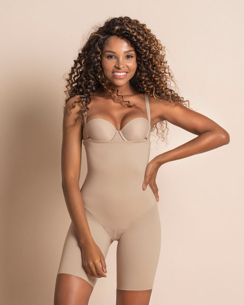 Leonisa Invisible Strapless Mid Thigh Body Shaper with Moderate Compression 012951, Best Thigh Waist Slimming Shapewear Canada, BestShapewearCanada