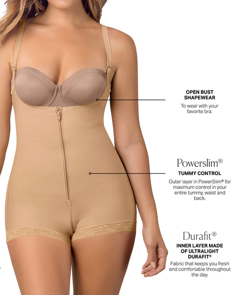 Leonisa Open Bust Body Shaper Boyshort with Firm Tummy Compression 018678N, Best Booty Lifter Butt Shaper Slimming Boyshort Shapewear, BestShapewearCanada