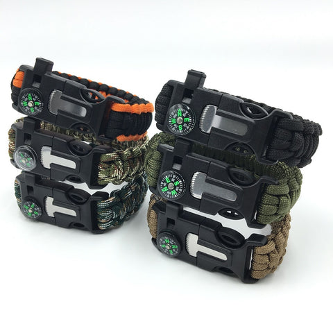 Men's Paracord Survival Bracelet Parachute Cord Wristband Emergency Rescue Rope Flint Fire Starter Buckle Whistle Compass Kits