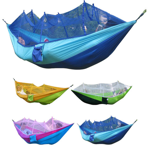 4Colorful (260x130cm)Portable High Strength Parachute Fabric Camping Hammock Hanging Bed With Mosquito Net Sleeping Hammock