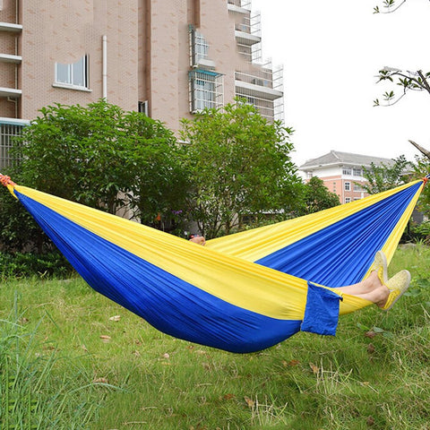 Double Person Assorted Color Portable Parachute Nylon Fabric Hammock for Indoor Outdoor Use Multi-color in options