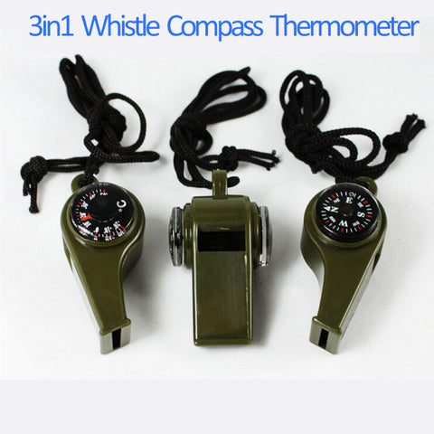 3 in 1 Whistle-Compass-Thermometer