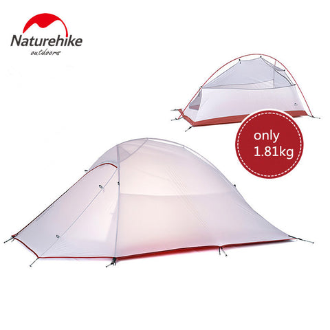 NatureHike tent 1.8kg 3 Person 20D Silicone Fabric Double-layer Camping Tents NH Outdoor Tent ultralight 210T Plaid Fabric Tent