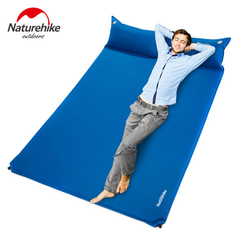 NatureHike-Durability Double Outdoor Bed + Pillow Self-Inflating Camping Air Mattress Dark Blue Sky BlueGreen Orange
