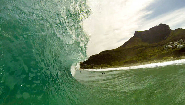 A crystallised wave barrels in Cape Town