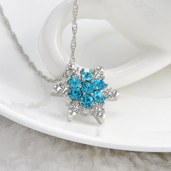 Snowflake, Blue, Necklace