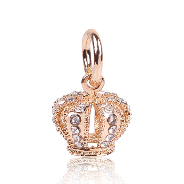Crown, Dangle, Rose Gold Charm