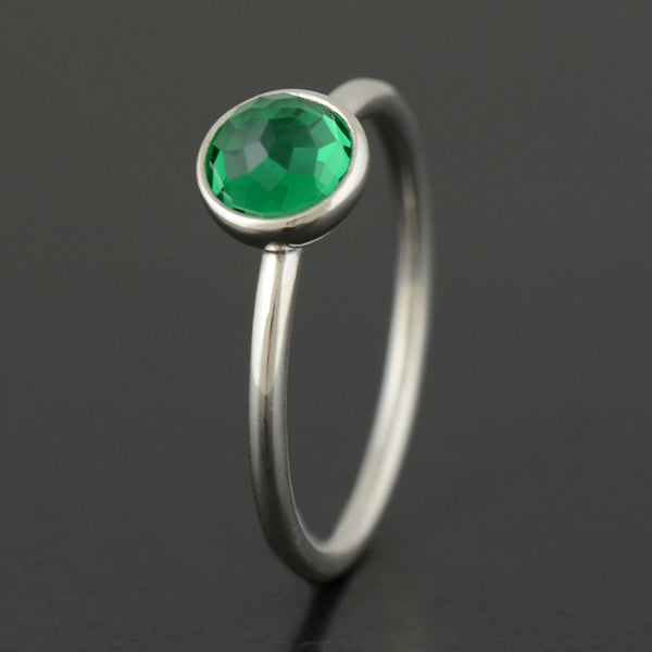 Birthstone Droplet Rings, Silver