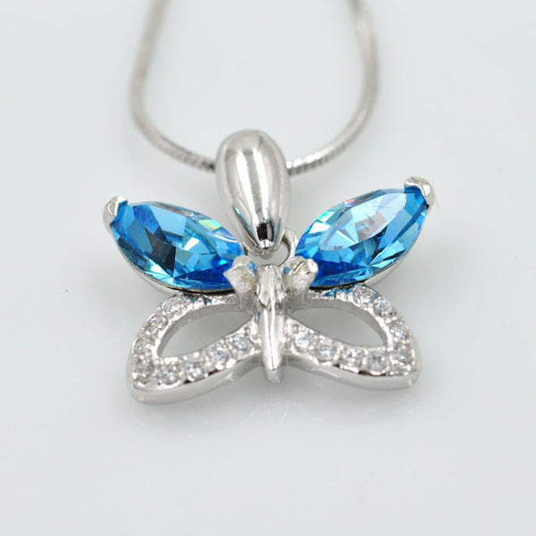 Butterfly Crystal, S925, Blue Crystal