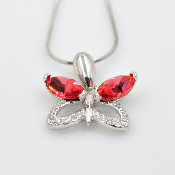 Butterfly Crystal, S925, Red Crystal