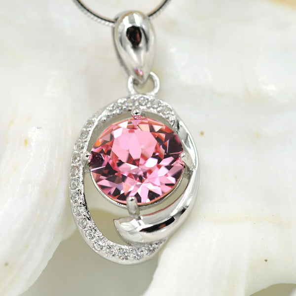 Round Crystal, Silver, Pink Crystal