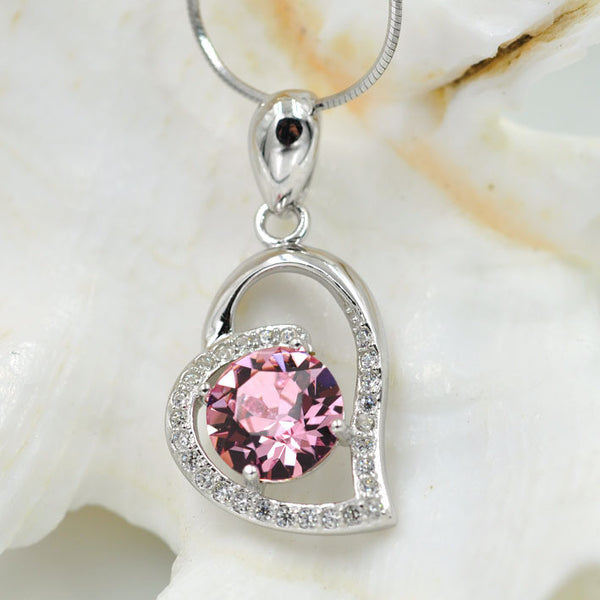 Heart, Silver, Pink Crystal