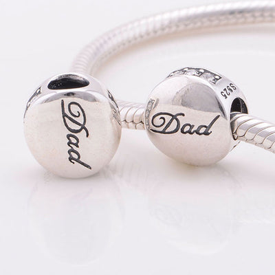 Dad Forever, Silver, Clear CZ, Charm
