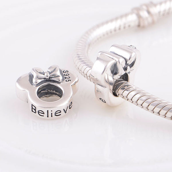 Believe Minnie Spacer, Silver, Charm