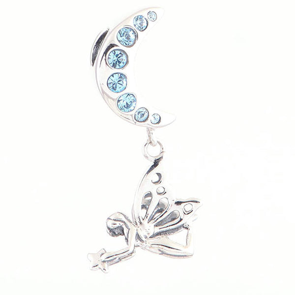 Angel Fairy with Crystal Moon, Silver, Aqua CZ, Charm, Dangle