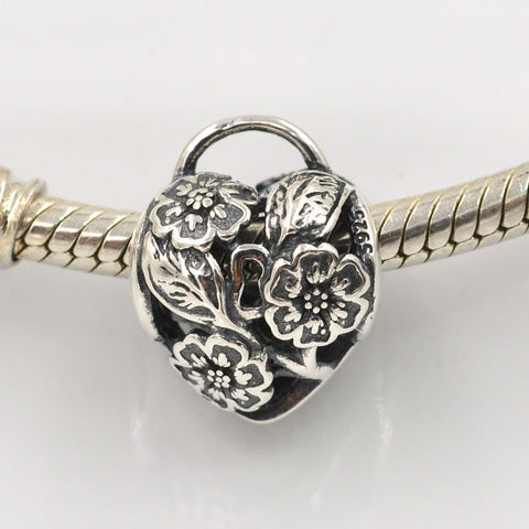 Floral Heart Padlock, Silver, Charm
