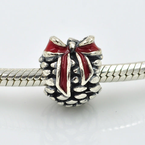 Pinecone, Silver, red enamel, Charm