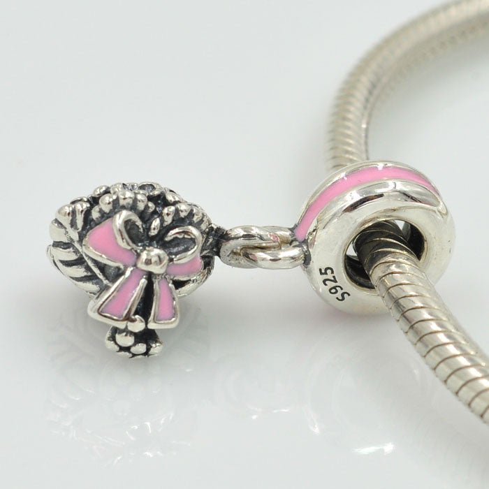 Celebration Bouquet, S925, Pink Enamel, Charm
