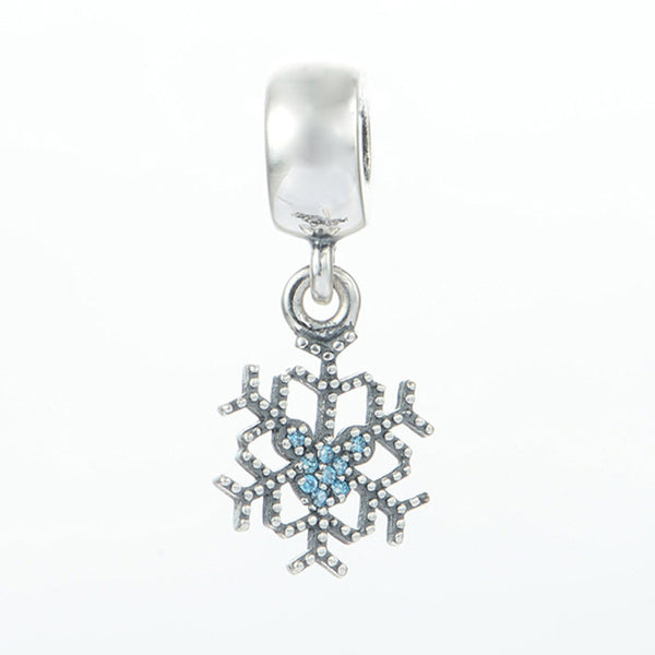 Crystalized Snowflake, Blue Crystals & Clear CZ, Silver, Charm, Dangle