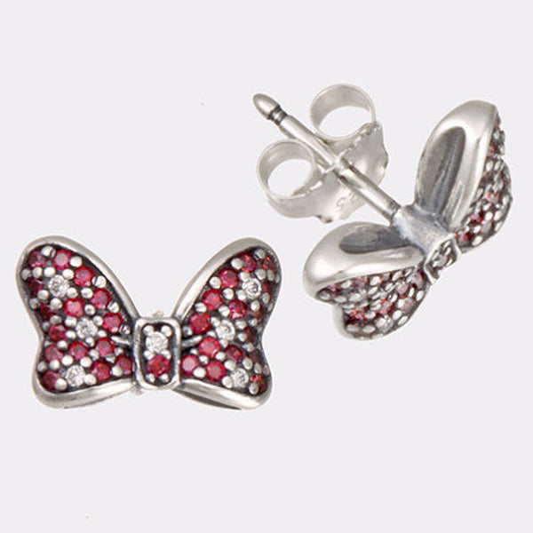 Disney Minnie Bow, Silver, Red CZ, Clear CZ