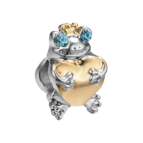 Love Frog, Gold, Blue Cz, Charm
