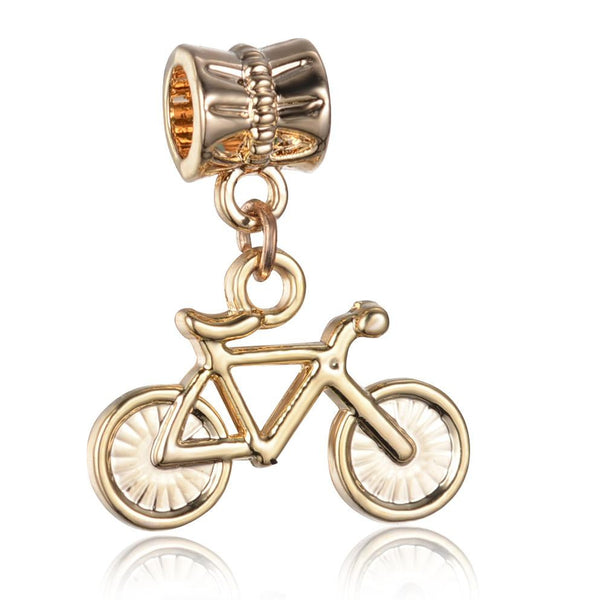 Bicycle, Dangle, Charm, Gold