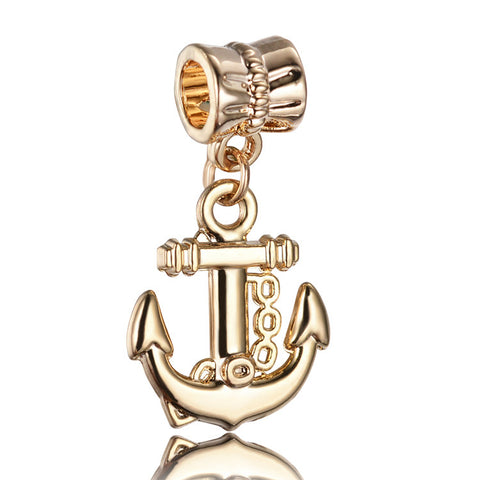 Anchor, Dangle, Charm, Gold