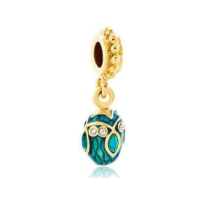 Easter Egg, Faberge, Gold, Cyan, Dangle